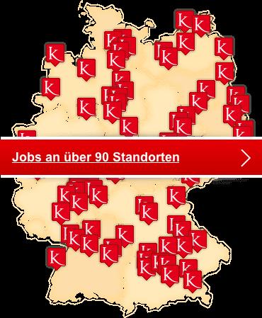 Deutschlandkarte mit Jobangeboten von Kursana
